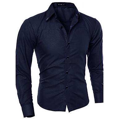 billige Herrers Mode Beklædning-Spredt krave Tynd Herre - Ensfarvet Bomuld, Basale Forretning Arbejde Plusstørrelser Skjorte Navyblå XXXL / Langærmet