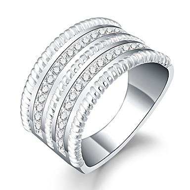 خاتم زركون مكعبات زركونيا تصفيح بطلاء الفضة Round Shape فضي مجوهرات يوميا فضفاض 1PC