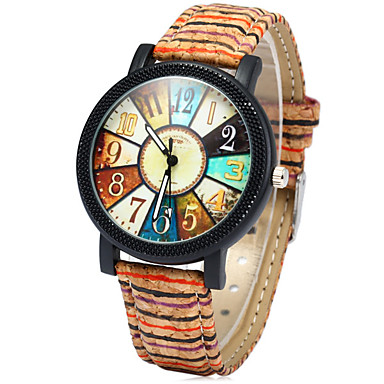 Kadın's Moda Saat Saat Ahşap Quartz Renkli Ahşap Bant Gökküşağı Çok-Renkli