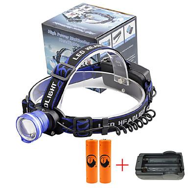 U'King Φακοί Κεφαλιού Μπροστινό φως LED 2000 lm 3 Τρόπος Cree XM-L T6 με μπαταρίες και φορτιστή Zoomable Συναγερμός Ρυθμιζόμενη Εστίαση