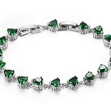 Βραχιόλια με Αλυσίδα & Κούμπωμα Μοντέρνα Κρύσταλλο Ζιρκονίτης Προσομειωμένο διαμάντι Κράμα Κοσμήματα Λευκό Βυσσινί Πράσινο Κοσμήματα Για