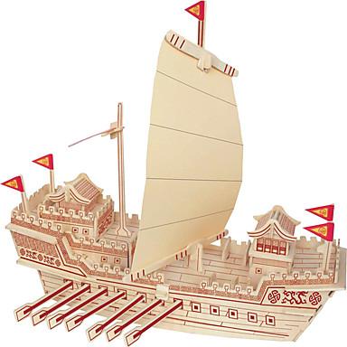 بانوراما الألغاز تركيب خشبي اللبنات DIY اللعب بناء مشهور الزراعة الصينية سفينة 1 خشب كريستال ألعاب البناء و التركيب