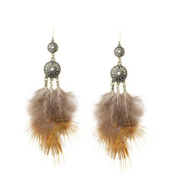 bohemia kobiety rhinestone feather drop kolczyki klasyczny styl kobiecy