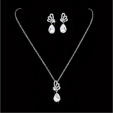 Rhinestone Kryształ górski / Posrebrzany Biżuteria Ustaw 1 Naszyjnik / 1 parę kolczyków - White Na Ślub / Impreza