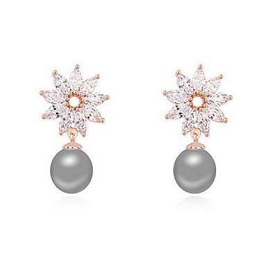 Vidali Küpeler İnci Doğa Moda İnci alaşım Flower Shape Beyaz Siyah Koyu Mavi Gri Bakır Mücevher Için Günlük 1 çift