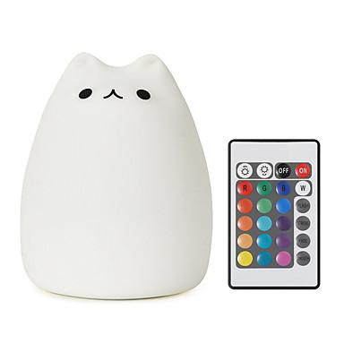 youoklight 1szt USB silikon ładowania kolorowe światła LED pilota noc przyciemniania światła kolorowe dzieci cute cat Night Light