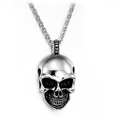 billige Mode Halskæde-Herre Vedhæng Krydsformet Dødningehoved Titanium Stål Enkelt design Mode Smykker Til Daglig Afslappet