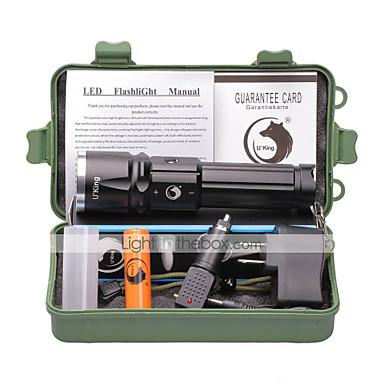 U'King LED Flashlights LED 2000 lm 3 طريقة Cree XM-L T6 مع البطارية والشواحن زوومابلي Adjustable Focus Camping/Hiking/Caving Everyday Use