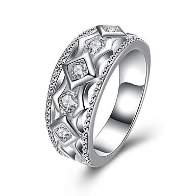 عصابة يوميا فضفاض مجوهرات زركون نحاس تصفيح بطلاء الفضة خاتم 1PC,7 8 فضة