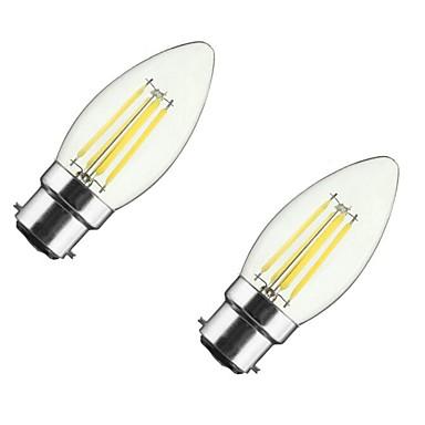ONDENN 2pcs 4W 350 lm B22 E26/E27 Żarówka dekoracyjna LED CA35 4 Diody lED COB Przysłonięcia Ciepła biel AC 85-265 V
