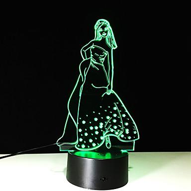 1szt dotykowy 7-color dziewczyna lampa LED 3D stereo światła widzenie kolorów gradientu kolorowe akrylową lampka nocna światła wizji