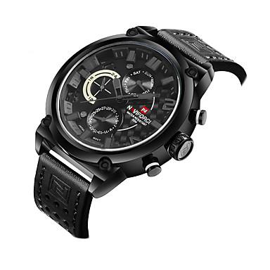 Erkek Spor Saat Elbise Saat İskelet Saat Moda Saat Bilek Saati Quartz Gerçek Deri Bant İhtişam Günlük Çok-Renkli