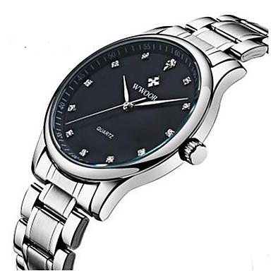 WWOOR Męskie Modny Zegarek na nadgarstek Kwarcowy Stop Pasmo Na co dzień Biały White Black Dark Blue Srebrny/Niebieski