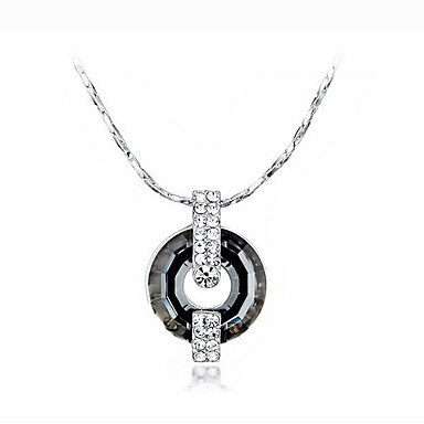 Uçlu Kolyeler Kristal Round Shape Som Gümüş Sallantılı Stil Temel Mücevher Uyumluluk Günlük