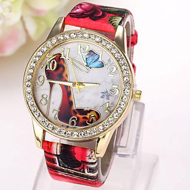 Kadın's Moda Saat Sahte Elmas Saat Quartz imitasyon Pırlanta Deri Bant Kelebek GünlükSiyah Beyaz Mavi Kırmızı Kahverengi Yeşil Pembe Mor