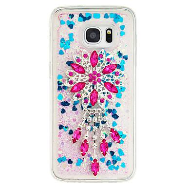 Για Στρας Ρέον υγρό Διαφανής Φτιάξτο Μόνος Σου tok Πίσω Κάλυμμα tok Λουλούδι Μαλακή TPU για Samsung S7 edge S7 S6 edge S6 S5