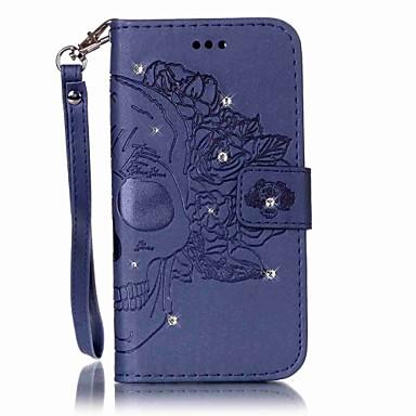 Etui Käyttötarkoitus Samsung Galaxy S7 edge S7 Korttikotelo Lomapkko Paljetti Flip Koristeltu Kokonaan peittävä Pääkallot Kova PU-nahka
