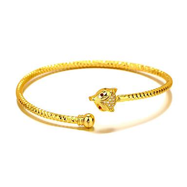 Χειροπέδες Βραχιόλια Φύση Μοντέρνα Γκόθικ Χαλκός Επιχρυσωμένο 24K Plated Gold Αλεπού Ζώο Κοσμήματα Χριστουγεννιάτικα δώρα Γάμου Πάρτι