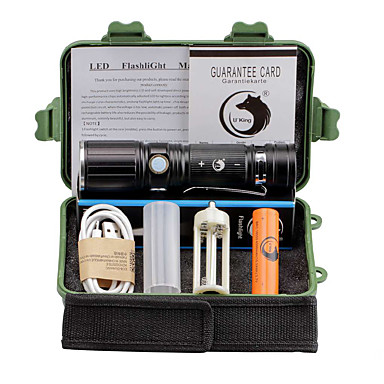 U'King LED Flashlights LED 2000 lm 3 طريقة Cree XM-L T6 مع البطارية زوومابلي Adjustable Focus قصاصة Camping/Hiking/Caving Everyday Use