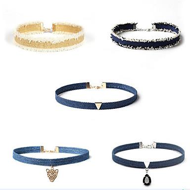 Circle Shape Design Unic Stil Atârnat Seturi de bijuterii Coliere Choker Mai multe pietre Material Textil Seturi de bijuterii Coliere