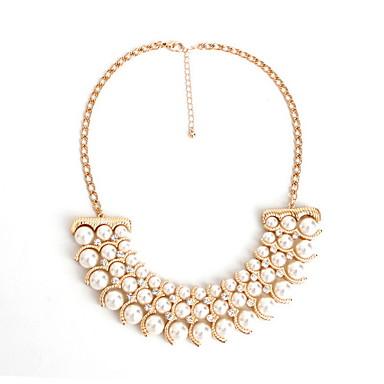 Dame Coliere Layered Bijuterii Perle imitație de diamant Aliaj Flower Shape Bijuterii La modă Personalizat Euramerican Auriu Argintiu