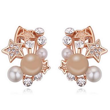 Vidali Küpeler Kristal İnci Doğa Avusturya Kristali alaşım Star Shape Beyaz Gri Bakır Mücevher Için Günlük 1 çift