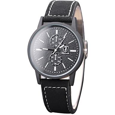 Erkek Moda Saat Bilek Saati Quartz PU Bant Havalı Günlük Siyah