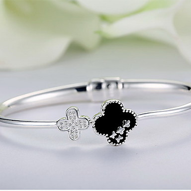 أساور الطبيعة موضة فضة الاسترليني Flower Shape اربع اوراق برسيم مجوهرات من أجل هدية
