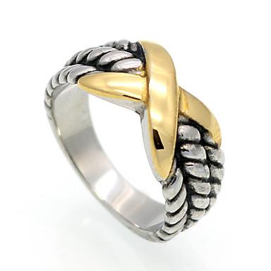 Męskie Damskie Pierscionek Gold Stal tytanowa Geometric Shape Spersonalizowane Geometrické Vintage euroamerykańskiej Modny Podwójna
