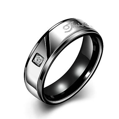 Damskie Obrączki Kryształ Modny minimalistyczny styl Ślubny Stal tytanowa Round Shape Biżuteria Na Ślub Impreza Specjalne okazje Urodziny