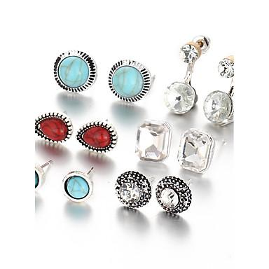 Kolczyki na sztyft Postarzane euroamerykańskiej Żywica Stop Geometric Shape Silver Biżuteria Na Codzienny 1set