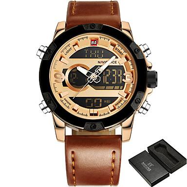 d3f23689f6fe0 رخيصةأون ساعات الرجال-NAVIFORCE رجالي ساعة رياضية ساعة عسكرية ساعة المعصم  جلد طبيعي أسود