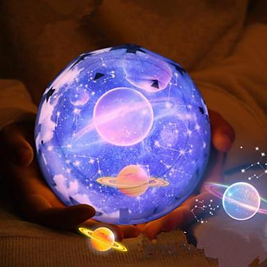 1pcs μαγικό λυχνάρι του έργου σχήμα διαμαντιού νύχτας οδήγησε προβολέα 3 αστέρων αλλάζει χρώμα usb φόρτισης κομοδίνο φως τη νύχτα προβολέα