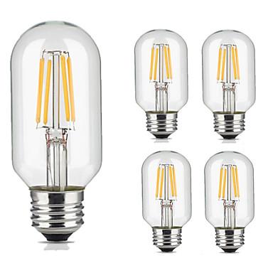 5pcs 4W 360lm lm E26/E27 مصابيحLED T45 4pcs الخرز LED COB ديكور أبيض دافئ أبيض كول 220V-240V