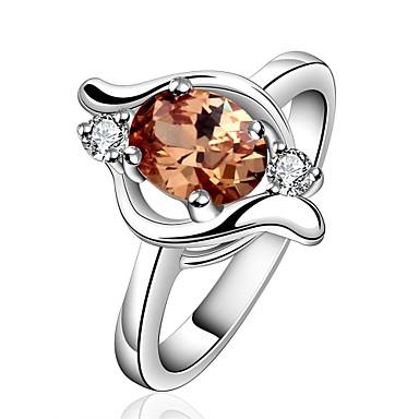 Pentru femei Inel Cristal Zirconiu Cubic Auriu Argintiu Zirconiu Articole de ceramică Argilă Geometric Shape Personalizat Γεωμετρικά
