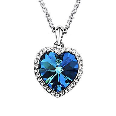Pentru femei Inimă Formă Iubire Modă European Coliere cu Pandativ Cristal Sapphire sintetic Placat cu platină Cristal Austriac Coliere cu