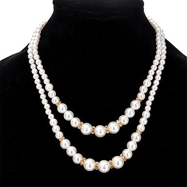 Naisten Muuta Yksilöllinen Vintage Seksikäs Euramerican Double Pearl layered Kaulakorut Strassi Tekohelmi Tekohelmi Tekojalokivi