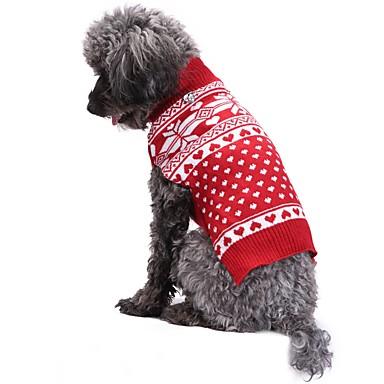 Γάτα Σκύλος Παλτά Πουλόβερ Χριστούγεννα Ρούχα για σκύλους Χιονονιφάδα Κόκκινο Ακρυλικές Ίνες Στολές Για κατοικίδια Ανδρικά Γυναικεία