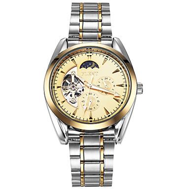 ASJ Męskie zegarek mechaniczny Japoński Nakręcanie automatyczne Faza Księżyca Stal nierdzewna Pasmo Luksusowy Vintage Na co dzień