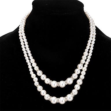 Naisten Muuta Yksilöllinen Tekohelmi Muoti Double Pearl layered Kaulakorut Tekohelmi Strassi Tekohelmi Tekojalokivi Metalliseos layered