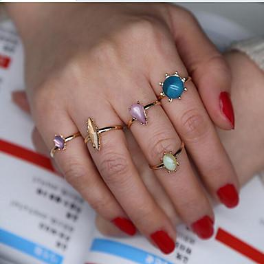 Damskie Pierscionek Modny Syntetyczne kamienie szlachetne Stop Geometric Shape Biżuteria Codzienny Casual