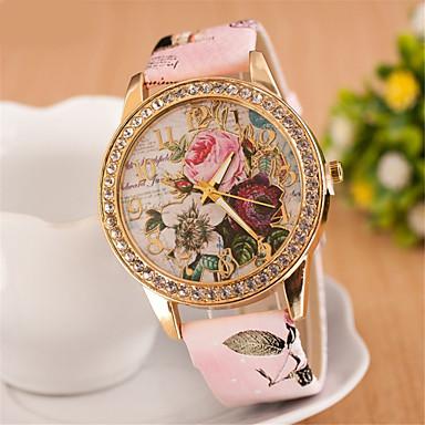 Kadın's Quartz Sahte Elmas Saat Bilek Saati Elbise Saat imitasyon Pırlanta PU Bant Çiçek Beyaz Kırmızı Pembe