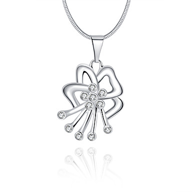 Damskie Bowknot Shape Geometric Shape Luksusowy Unikalny Logo Wiszący Naszyjniki z wisiorkami Kryształ Srebro standardowe Kryształ
