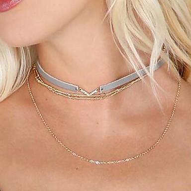 Naisten Nahka Metalliseos Choker-kaulakorut - Nahka Metalliseos Riipus Tupsu Multi-tapoja Wear Alphabet Shape Kaulakorut Käyttötarkoitus