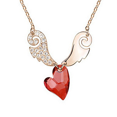 Γυναικεία Κρεμαστά Κολιέ Κρυστάλλινο Heart Shape Φτερά / Φτερό Μοναδικό Φιλία Κοσμήματα Για Πάρτι Γενέθλια