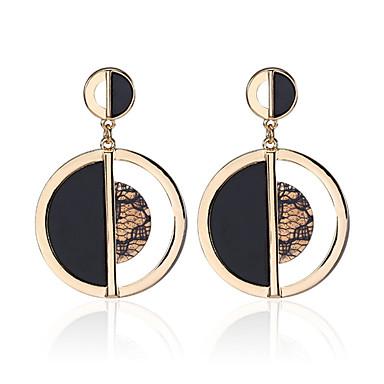 Damskie Kolczyki wiszące - Luksusowy Okragły Unikalny Vintage W stylu brytyjskim minimalistyczny styl Gold Circle Shape Kolczyki Na Ślub