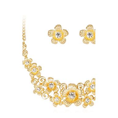 Naisten Korusetti Kukka-aihe Kukka Klassinen Kukkaset Muoti Häät Party Erikoistilaisuus Syntymäpäivä Tekojalokivi Gold Plated Metalliseos