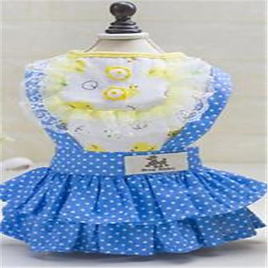 Kot Pies Suknie Ubrania dla psów Urocza Groszki Yellow Niebieski Kostium Dla zwierząt domowych