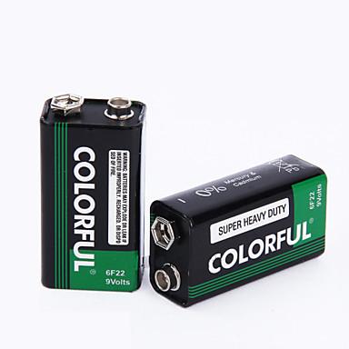 Renkli 9v çinko kuru pil 9v 10 paket