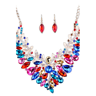نساء مجموعة مجوهرات حجر الراين موضة euramerican في بيان المجوهرات زفافي المجوهرات الفاخرة تقليد الماس سبيكة مجوهرات القلائد أقراط من أجل